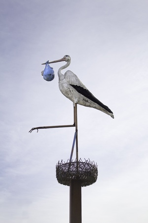 Stork with baby on the peak on nest, figure art photo
