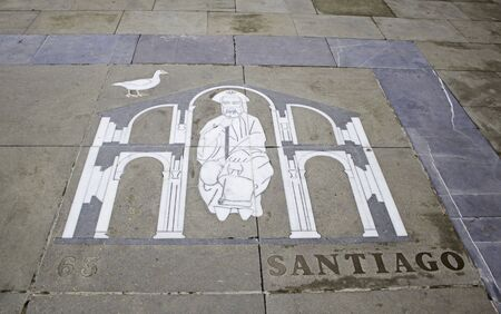 santiago: I usually ancient decorated with the figure of the Apostle santiago, Christianity and belief Stock Photo