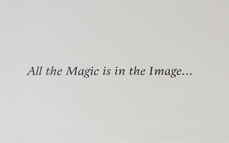 responce: Magic on image text in English on white wall Stock Photo