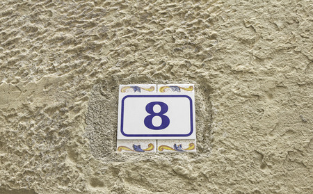 numbering: Number eight direction in building wall, numbering