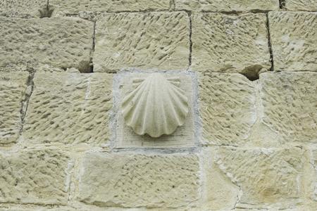indication: Shell camino santiago stone wall, indication