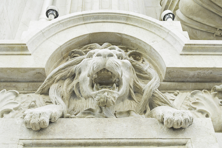 Facade with Lion in Lisbon, construction and architecture photo