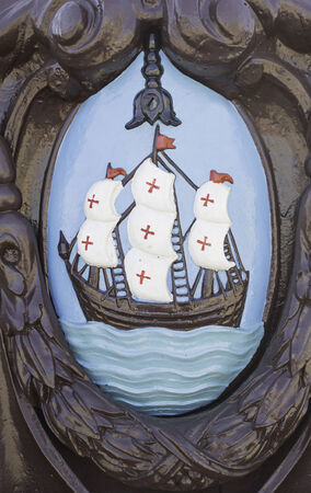 templars: Boat with crosses carved and painted, historic symbol Stock Photo