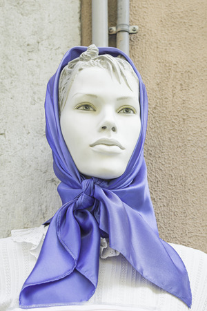 Lisbon with Costume regional dummy scarf, fashion photo