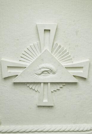templars: Eye in pyramid stone cross, religion and faith