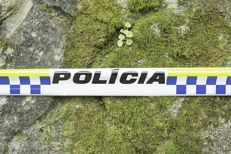 police tape: Police tape trespassing in portugal, safety
