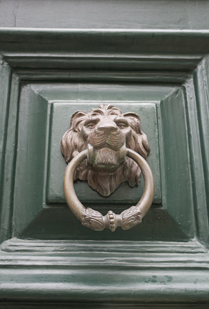 Green door with bronze lion, construction and architecture photo
