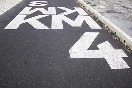 law of portugal: Sign kilometer in urban road lisbon, traffic Stock Photo
