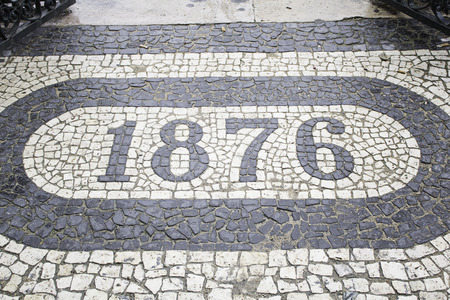 6 7 year old: Date urban land tile, and construction symbol Stock Photo