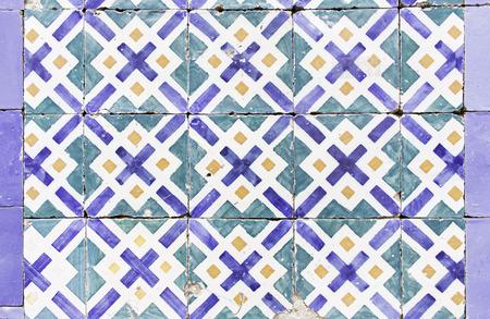 Broken ceramic tiles in urban building, construction Stock Photo