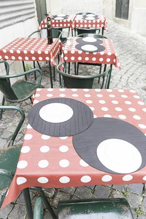Bar tables colors urban street, business photo
