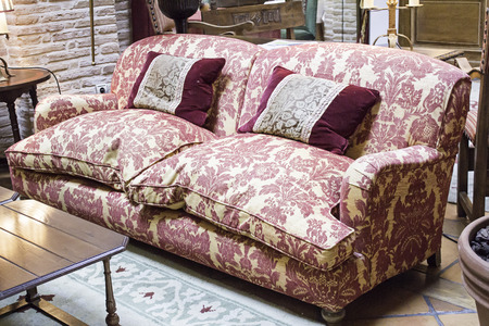 Patterned sofa with cushions home interior photo