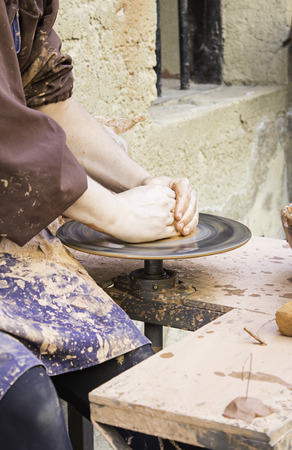 clay craft: Potter working with clay craft, business Stock Photo