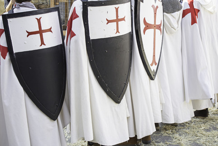 inquisition: Knights Templar uniform and shield, celebration