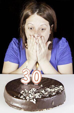 thirty: Thirty birthday girl party with chocolate cake