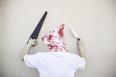 Hooded Murderer blood with knives, halloween