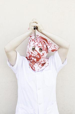 murderer: Hooded Murderer blood with knives, halloween