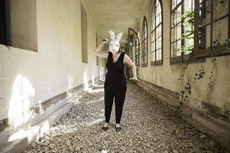 insane insanity: Rabbit attack woman in abandoned house, halloween