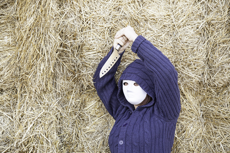 insane insanity: Masked woman in barn farm, halloween
