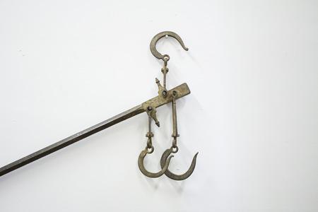 wall decor: Steel hooks metal wall decor objects Stock Photo