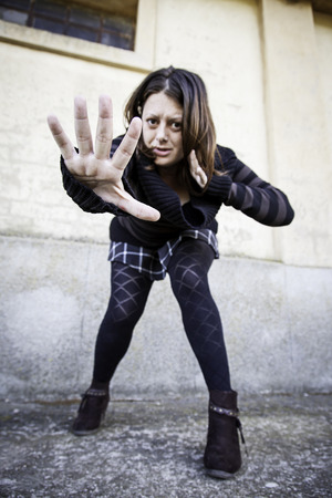 Woman hand attacking and defending, fight Stock Photo