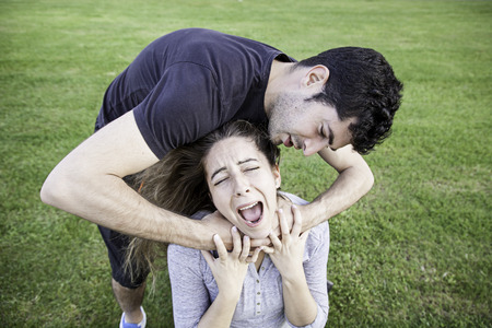 abused girl: Girl abused by her boyfriend, aggression and violence
