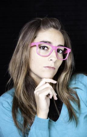 Mujer sexy con gafas, moda de belleza y accesorios Foto de archivo