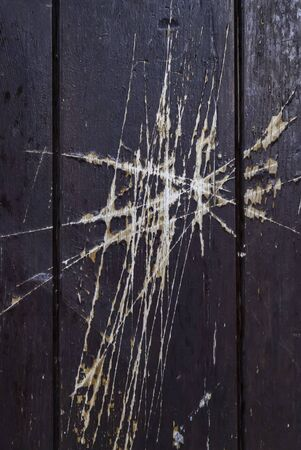 Wooden door with scratches, construction and architecture, texture Banco de Imagens