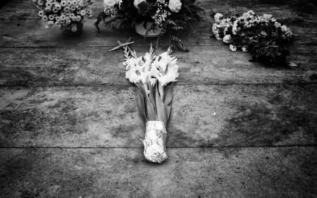 Flowers in cemetery on the day of the dead, Christianity and faith Stock Photo