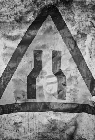 Signal dirty narrow street and damaged traffic symbol