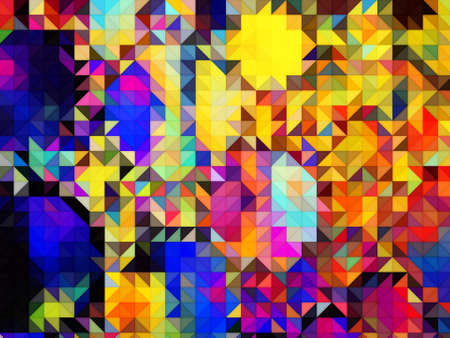 squares and triangles isometric abstract conceptual colorful background and patterns Stock Photo