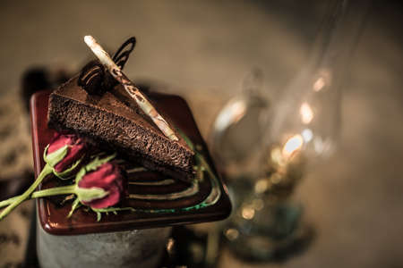 chocolate cake with rose romantic dessert for valentines day