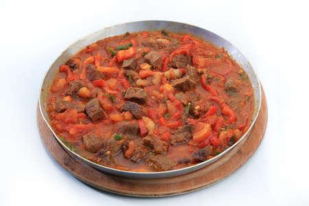 meat saute isolated turkish cuisine Stock Photo