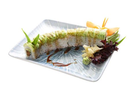 caterpillar shaped sushi plate decoration isolated