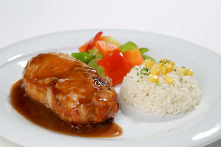 barbeque sauced chicken roll with side dish white background 스톡 콘텐츠