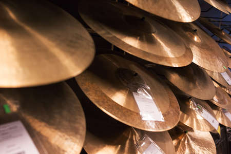 cymbals for drummers at music store ready to perform drum solo Stock Photo