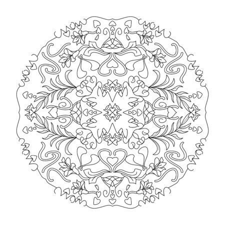 Mandala coloring page. Hearts, leaves and flowers, vector illustration. Art Therapy. Decorative element.