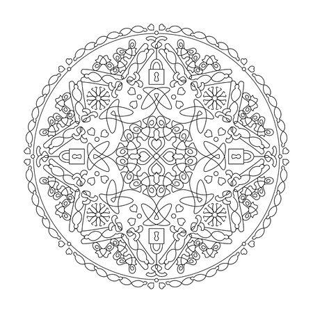 Mandala coloring page. Hearts and padlocks, vector illustration. Art Therapy. Decorative element.