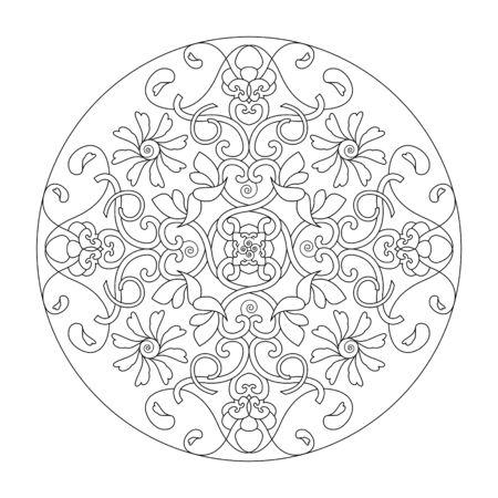 Mandala coloring page. Hearts mandala, vector illustration. Art Therapy. Decorative element.