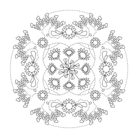 Mandala coloring page. Hearts and flowers, vector illustration. Art Therapy. Decorative element.