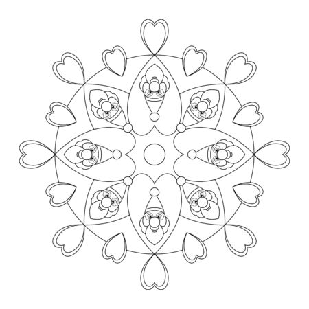 Santa Claus and Hearts. Christmas mandala. Mandala coloring page. Vector illustration