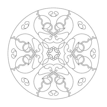 Mandala coloring page. Hearts mandala. Coloring page, vector illustration. Art Therapy. Decorative element.