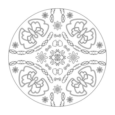 Mandala coloring page. Butterflies mandala with flowers, vector illustration. Art Therapy. Decorative element.