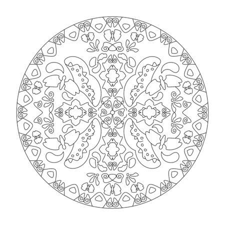 Mandala coloring page. Mandala butterflies, vector illustration. Art Therapy. Decorative element. Illustration