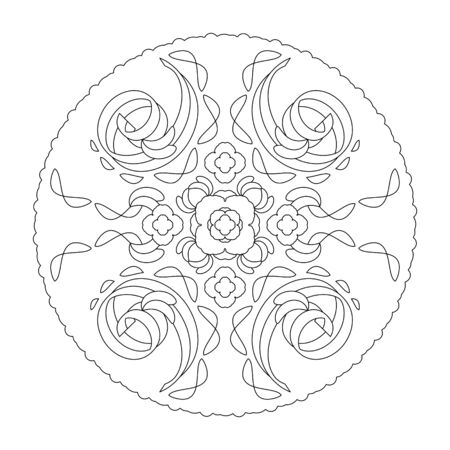 Mandala coloring page, vector illustration. Spirals. Art Therapy. Decorative element.