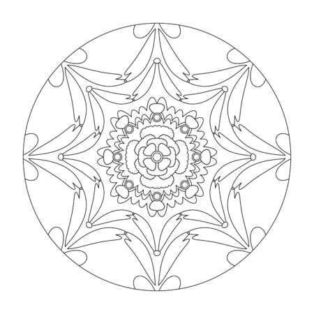 Mandala coloring page. Stretched effect. vector illustration. Art Therapy. Decorative element.