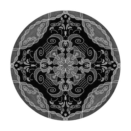 Colored pencil effects. Black, white and gray mandala illustration. Abstract. Decorative element. Banque d'images