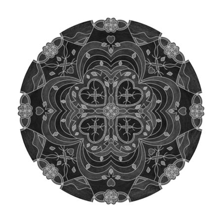 Colored pencil effects. Black, white and gray mandala illustration. Hearts and Abstract. Decorative element.