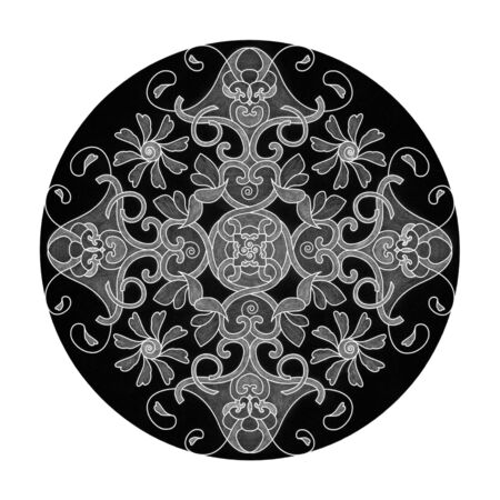 Colored pencil effects. Black, white and gray mandala illustration. Heart, spiral, bird and flower. Abstract. Decorative element.