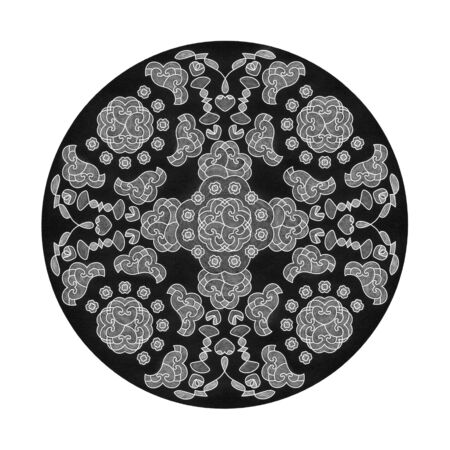 Colored pencil effects. Black, white and gray mandala illustration. Hearts Abstract. Decorative element. Banque d'images
